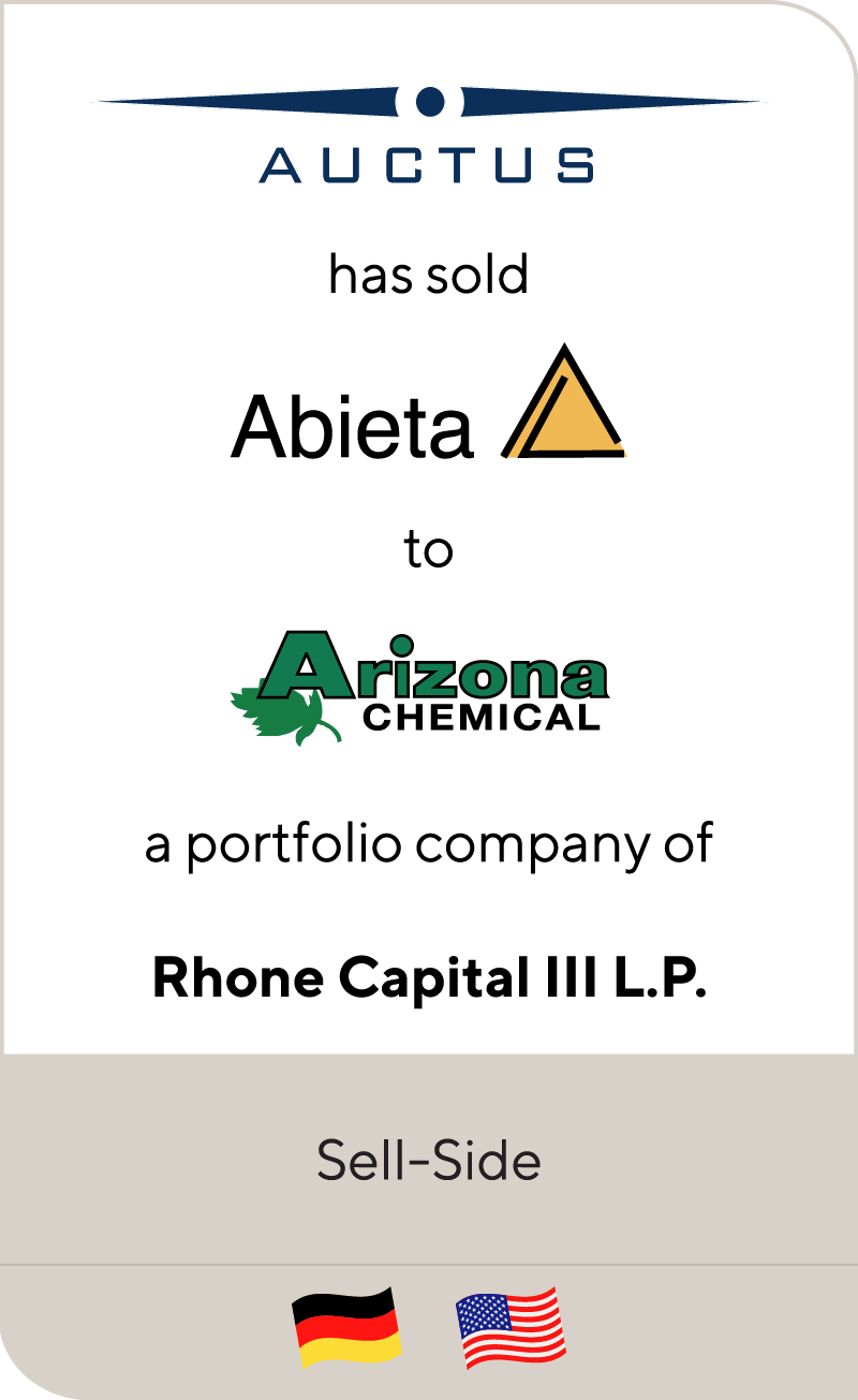 AUCTUS has sold Abieta to Arizona Chemical