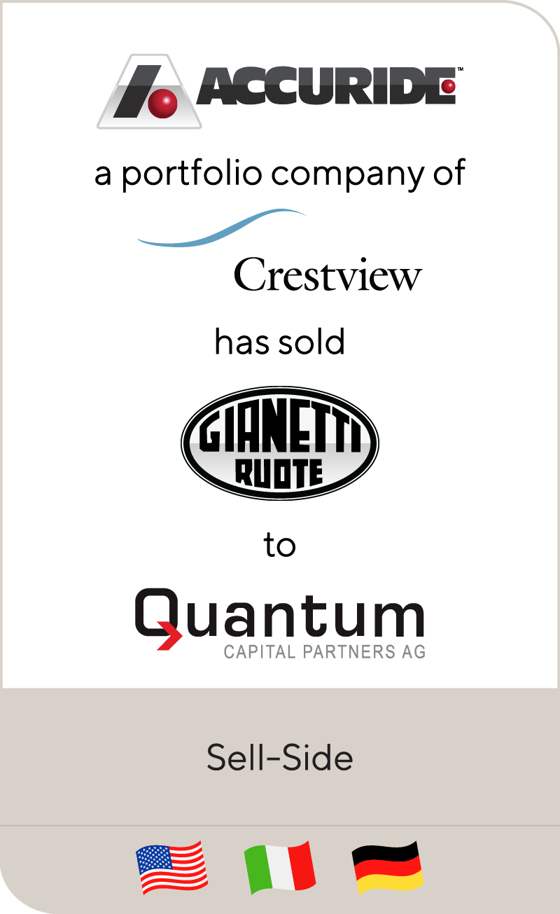 Accuride, a portfolio company of Crestview, has sold Gianetti Ruote to Quantum