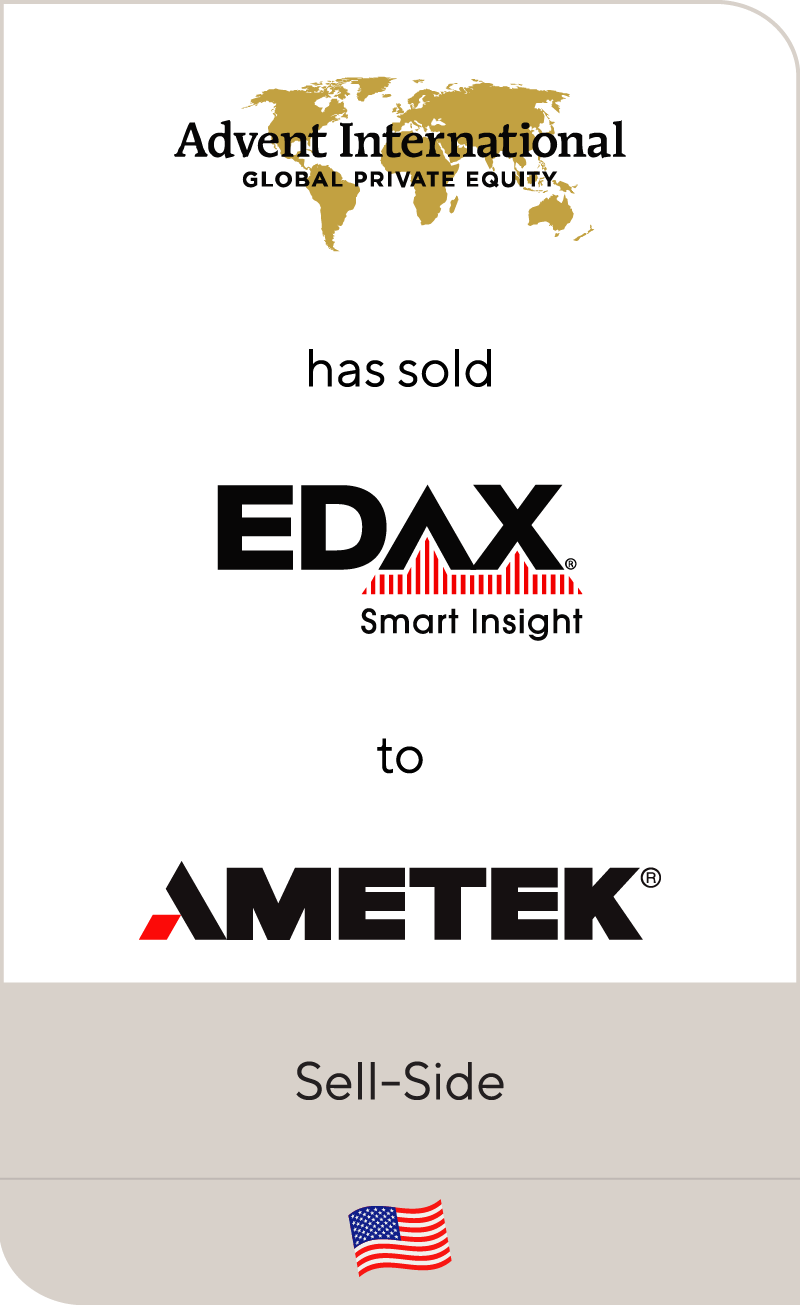 Advent International has sold Edax to AMETEK