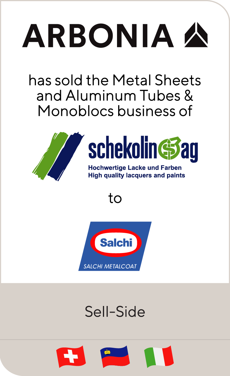 Swiss Arbonia has sold Schekolin's metal packaging coatings business to Italian Salchi Metalcoat
