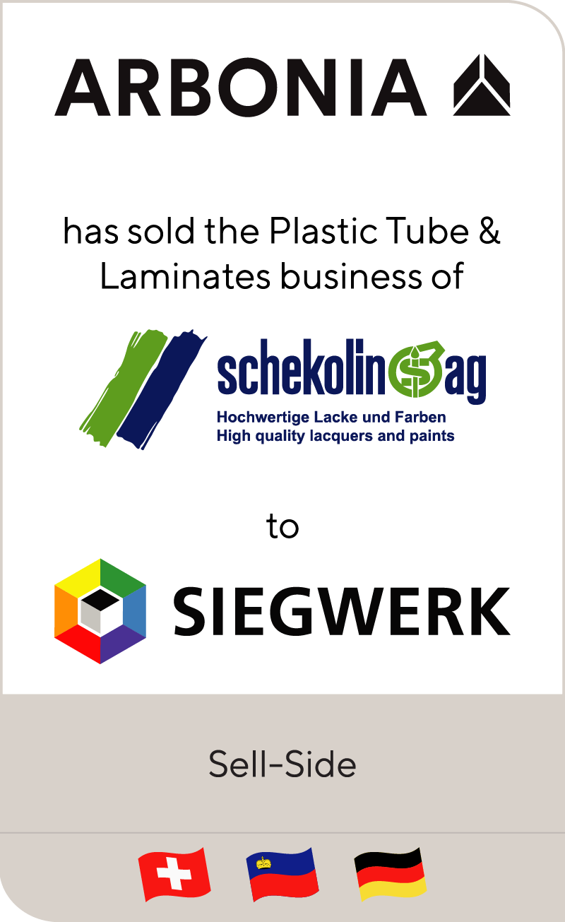 Arbonia has sold plastic tube business to Schekolin to Siegwerk