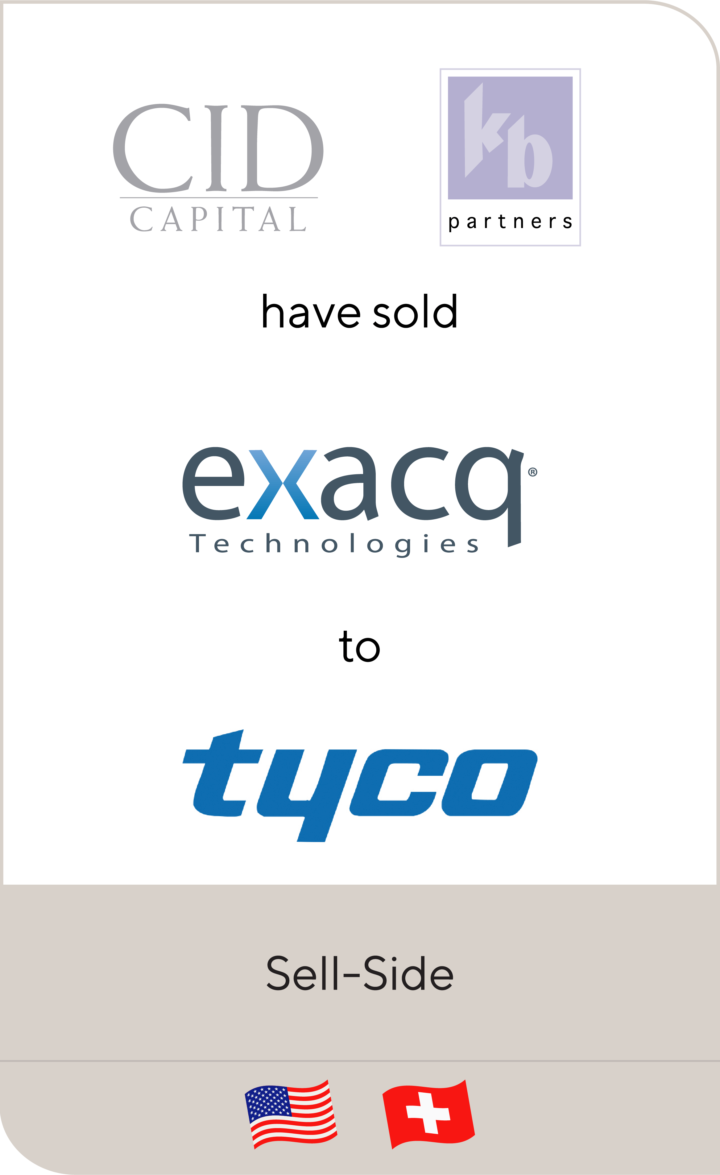 CID Capital Venture Partners, KB Partners and Management has sold Exacq Technologies to Tyco International