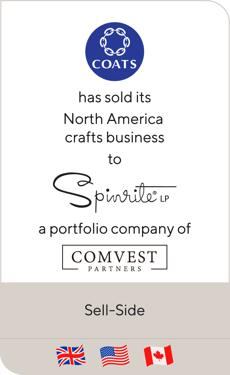 Coats Group has sold its North America crafts business to Spinrite