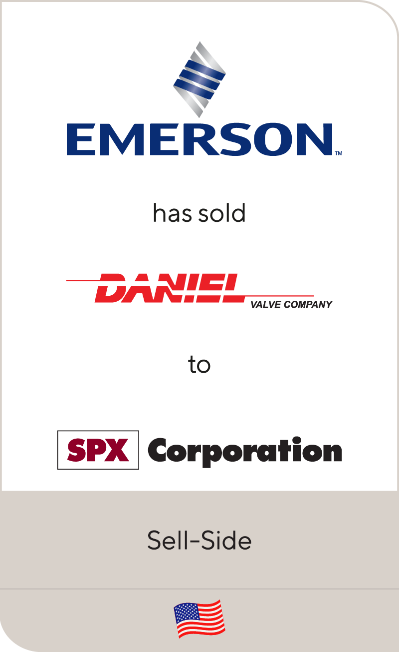 Emerson has sold Daniel Valve Company to SPX Corporation