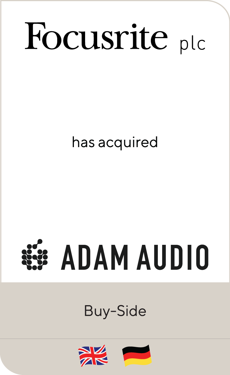 Focusrite plc has acquired Pro Audio GmbH including ADAM Audio GmbH