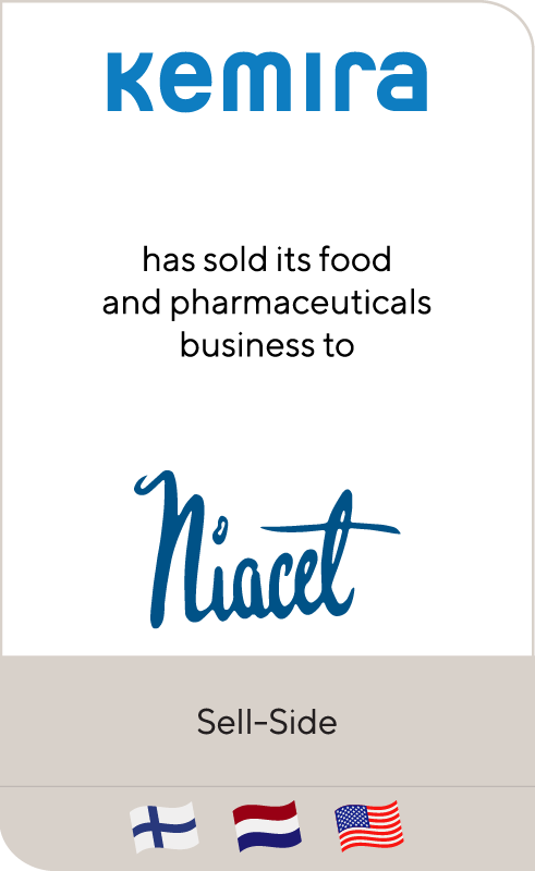 Kemira has sold its food and pharmaceuticals business to Niacet