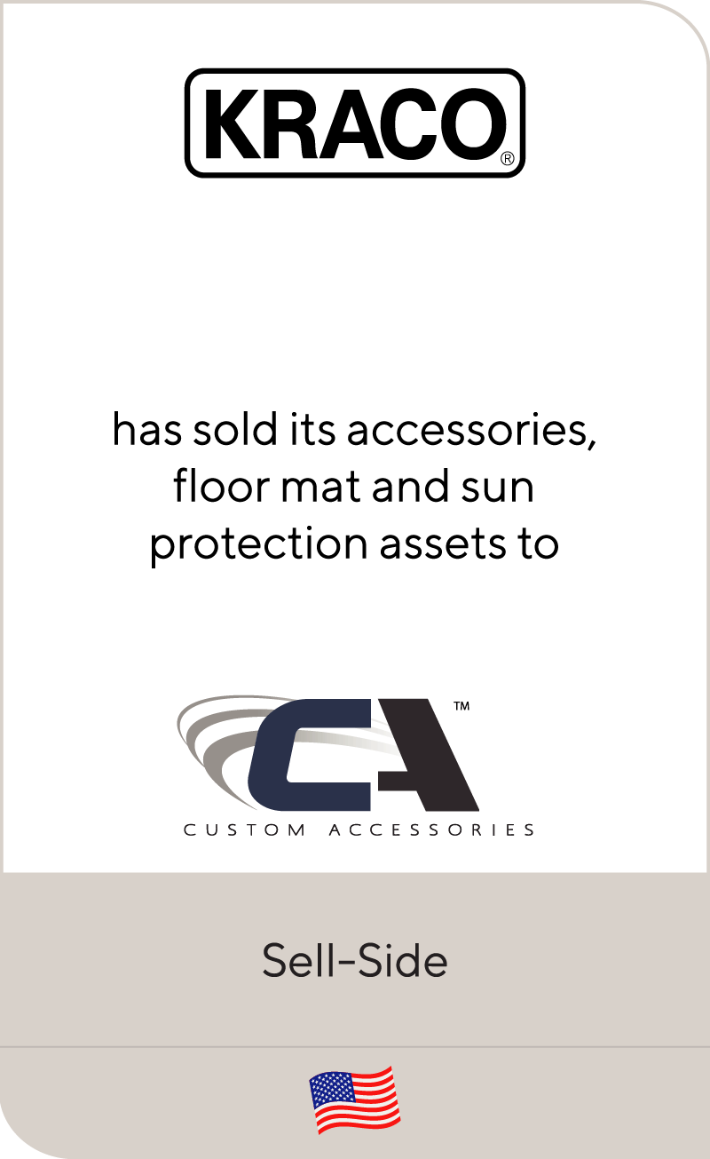 Kraco has sold its accessories, floor mat and sun protection assets to Custom Accessories