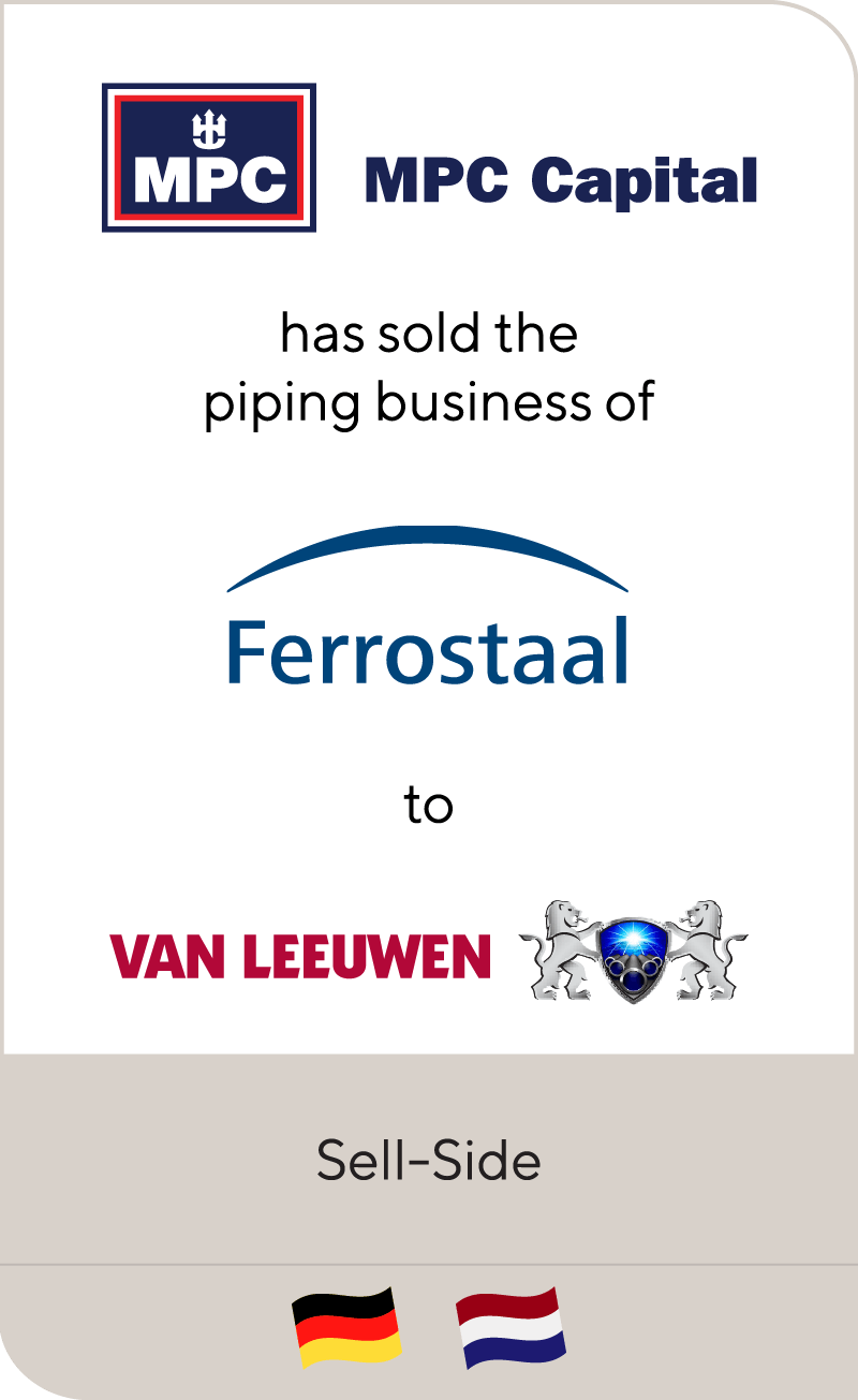 MPC Capital AG and Ferrostaal have sold Ferrostaal Piping Supply to Van Leeuwen