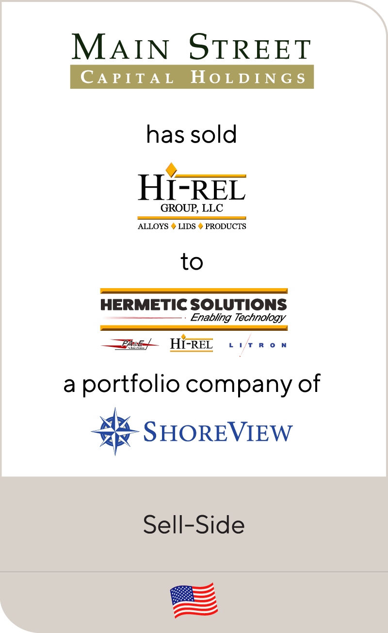 Main Street has sold HiRel to PA&E ShoreView