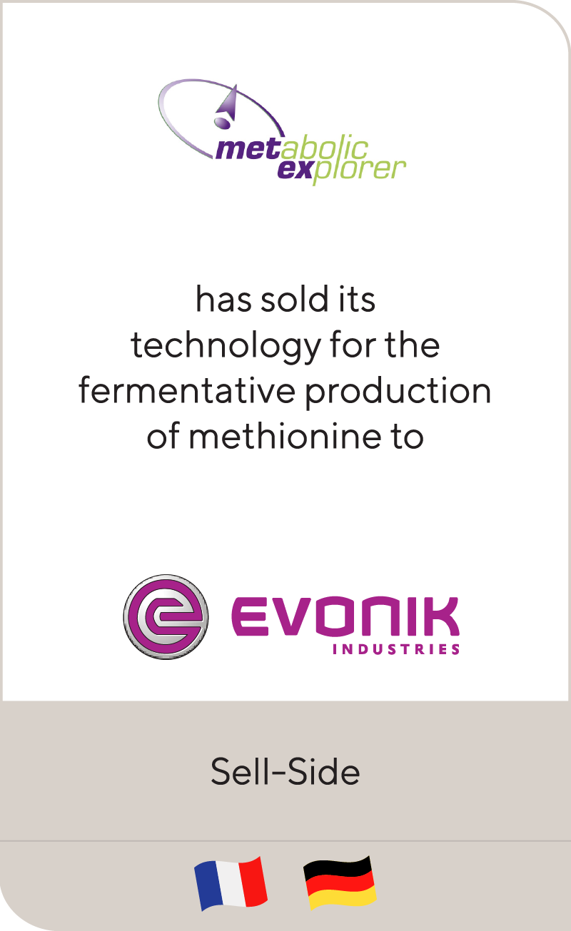 Metabolic Explorer has sold fermentative business to Evonik