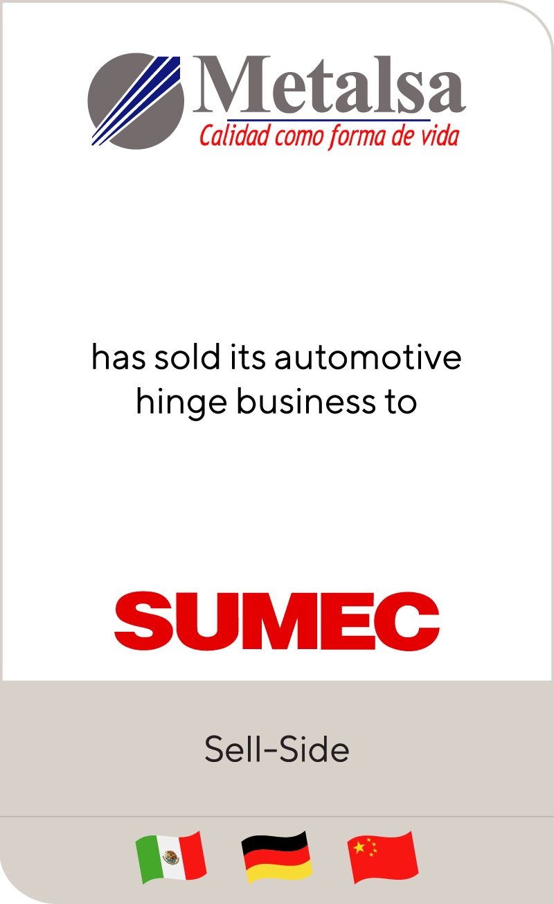 Metalsa has sold its automotive hinge business to Sumec Machinery