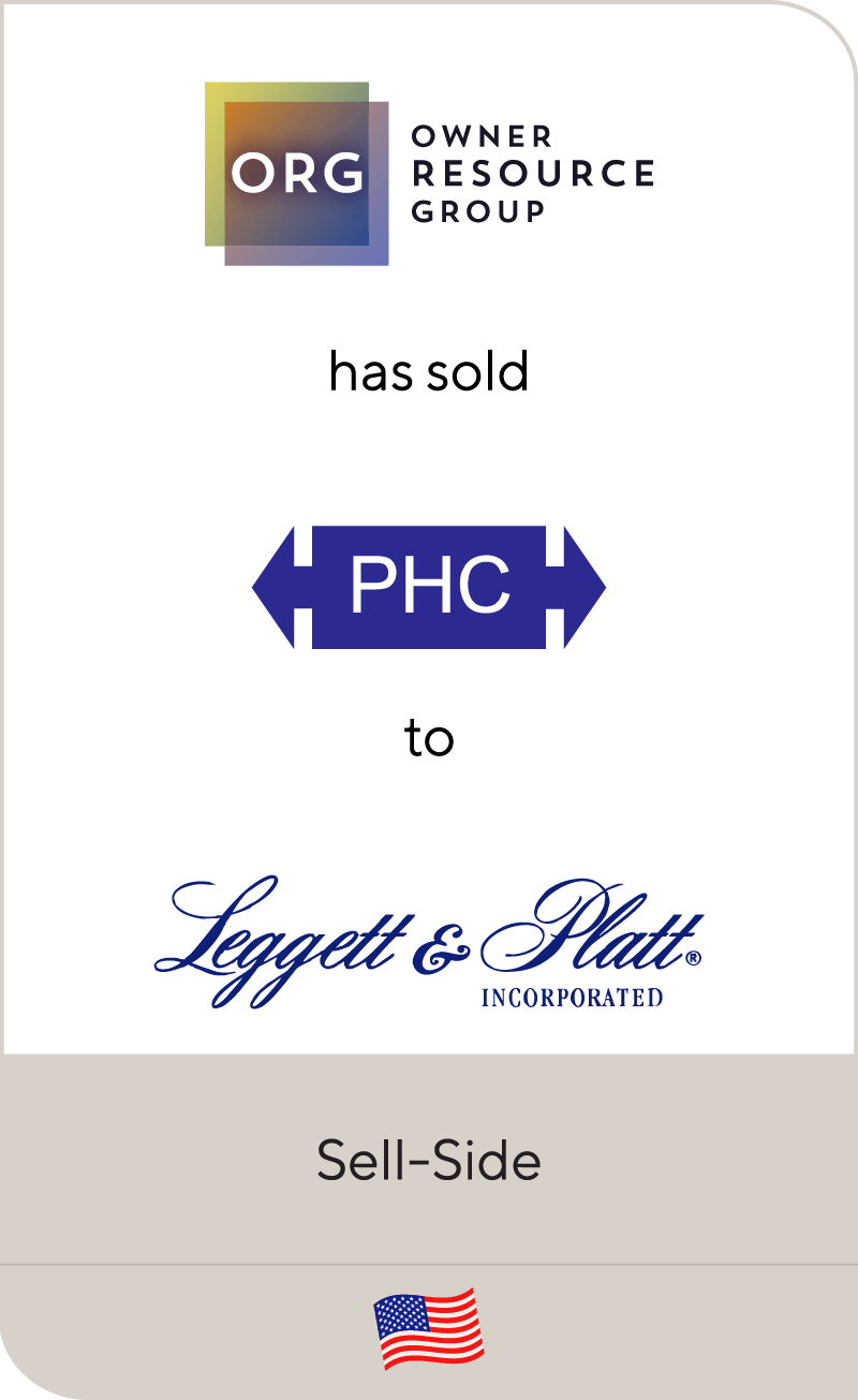 Owner Resource Group has sold Precision Hydraulic Cylinders to Leggett & Platt