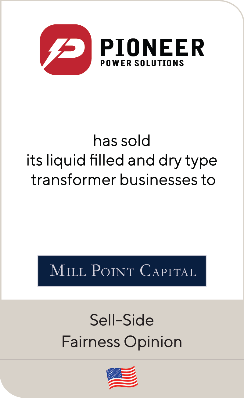 Pioneer Power Solutions Mill Point Capital 2019