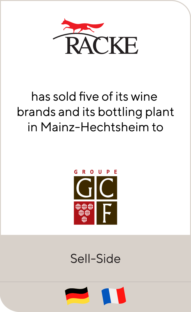 Racke has sold five of its wine brands and its bottling plant in Mainz-Hechtsheim to GCF