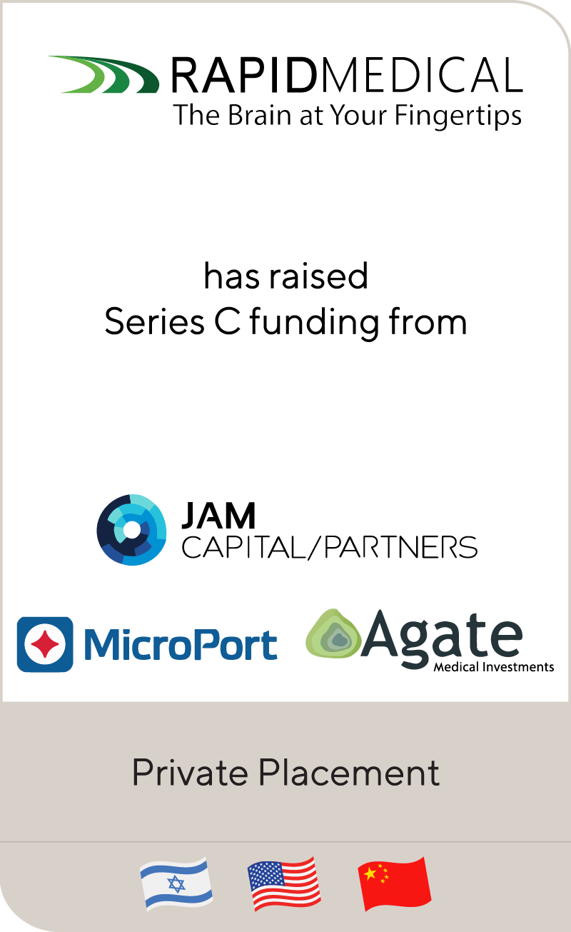 Rapid Medical completes $20 million Series C financing led by JAM Capital Partners and MicroPort Scientific Corporation
