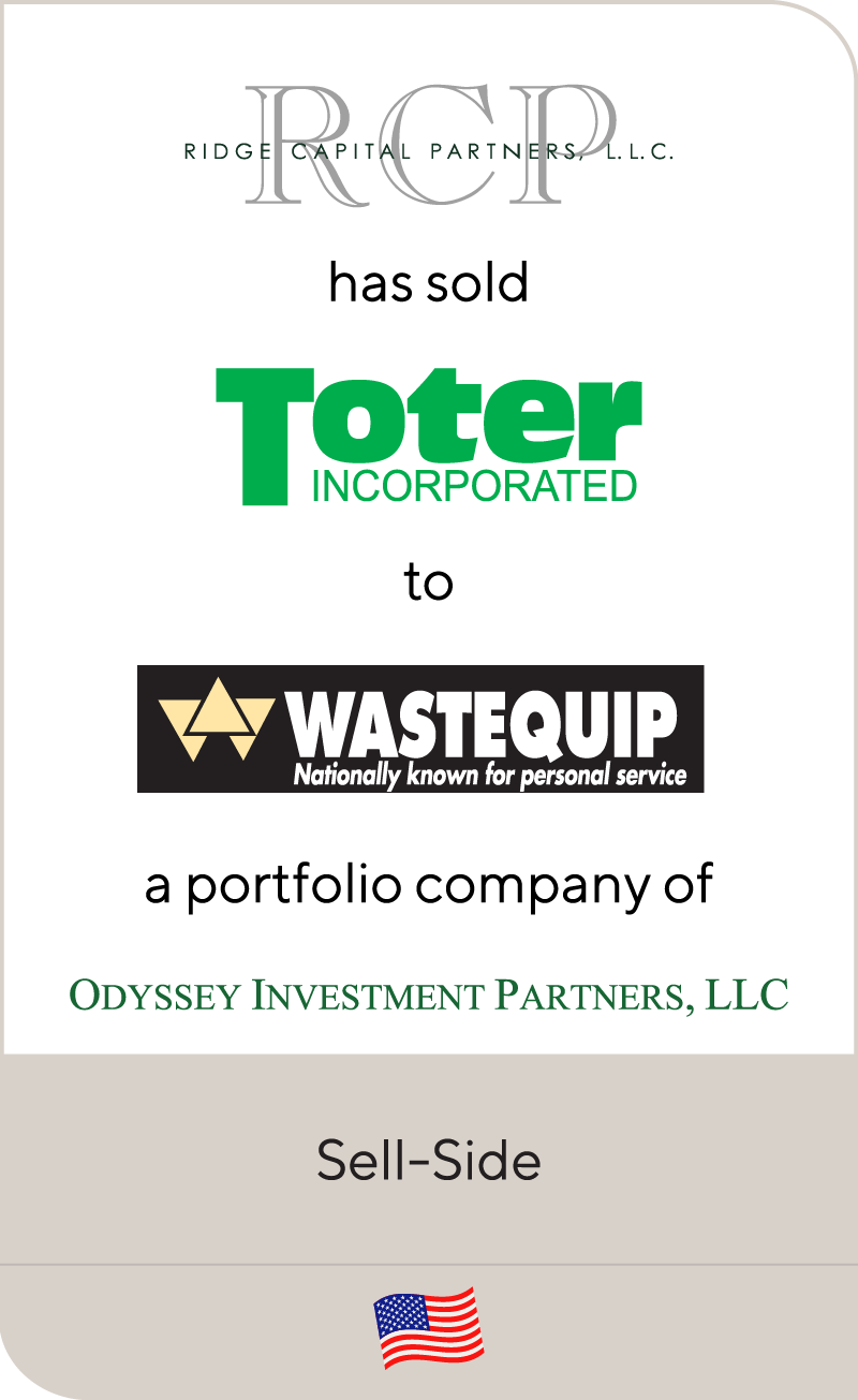 Ridge Capital Partners has sold Toter Incorporated to Wastequip