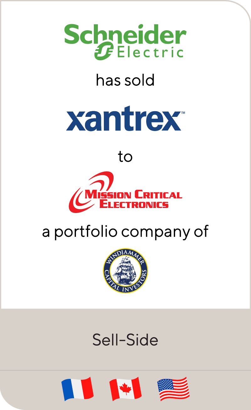 Schneider Electric has sold Xantrex's Mobile Power Assets to Mission Critical Electronics