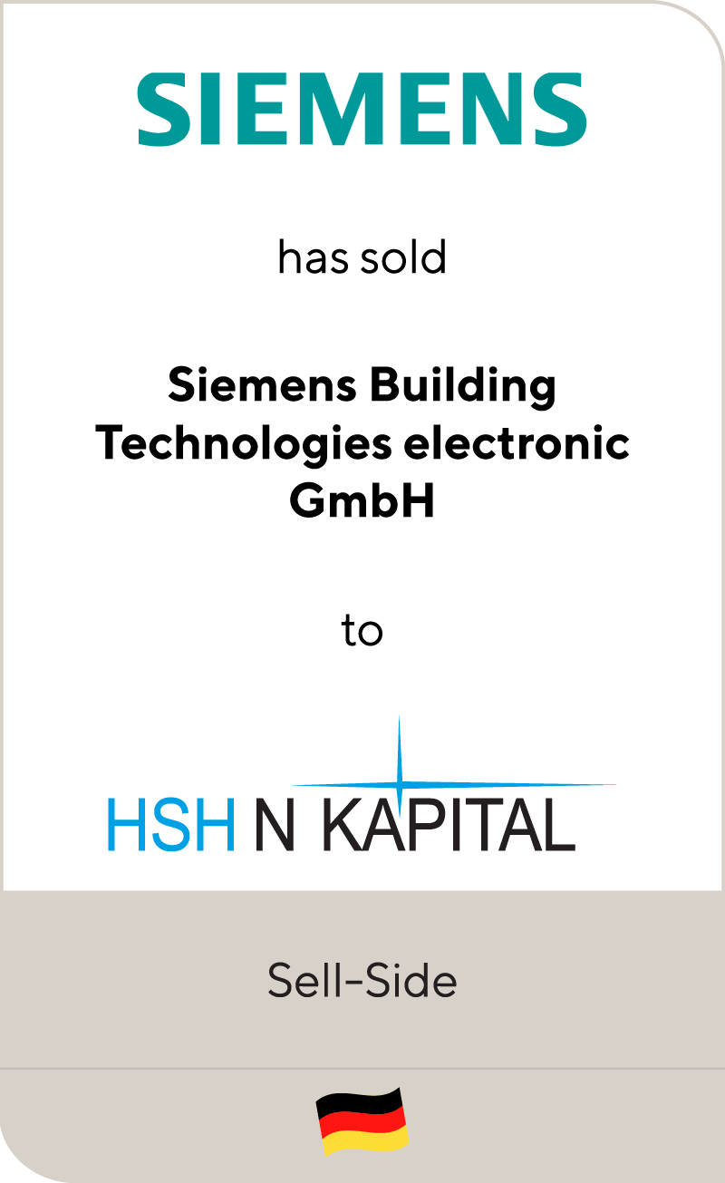 Siemens AG has sold Siemens Building Technologies electronic GmbH to HSH N Kapital
