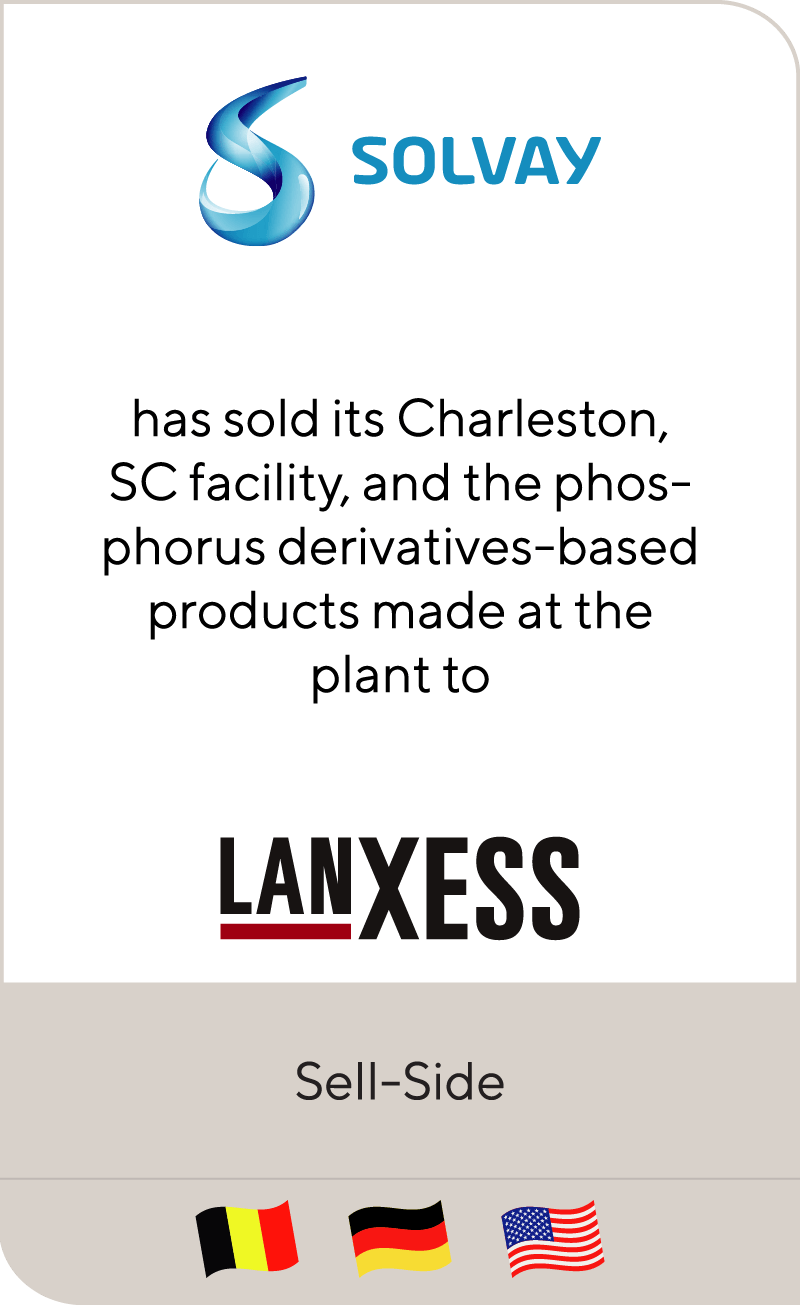 Solvay has sold its facility in Charleston, SC, and the phosphorus derivatives-based products made at the plant, to Lanxess